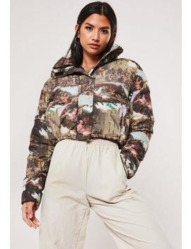 Brown Renaissance Print Puffer Jacket by Missguided