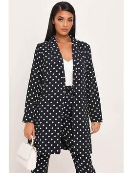 Black Polka Dot Long Line Woven Blazer by I Saw It First