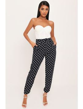 Black Polka Dot Cigarette Trousers by I Saw It First