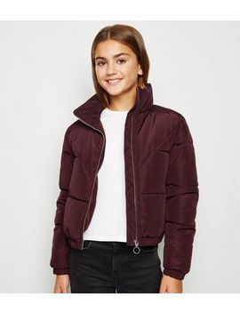 Girls Burgundy Puffer Jacket by New Look