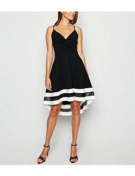 Black Stripe Mesh Trim Dip Hem Dress by New Look