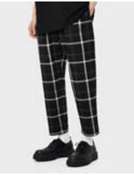 Straight Fit Plaid Pants by Bershka