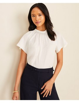 Jacquard Smocked Mock Neck Tee by Ann Taylor