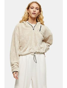 Cream Cropped Borg Half Zip Sweatshirt by Topshop