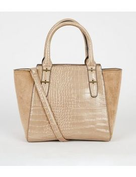 Camel Faux Croc Small Tote Bag by New Look