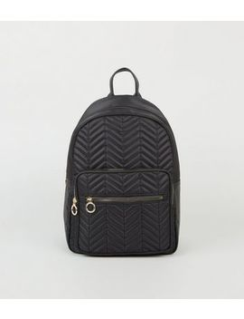 Black Shell Quilted Backpack by New Look