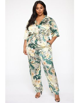 Tropical Floral Cutie Jumpsuit   Green/Combo by Fashion Nova