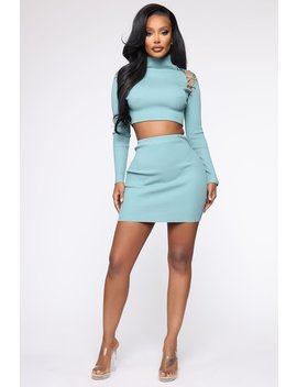 Roll With It Ribbed Sweater Set   Blue by Fashion Nova