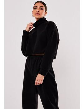 Tall Black Co Ord High Neck Cropped Fleece by Missguided