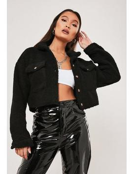 Black Teddy Borg Cropped Shirt by Missguided