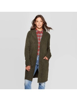 Women's Long Sleeve Raglan Fine Gauge Sweater Cardigan   Universal Thread™ Olive by Universal Thread