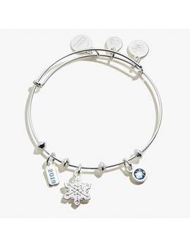 2019 Snowflake Trio Charm Bangle Shiny Silver by Alex And Ani