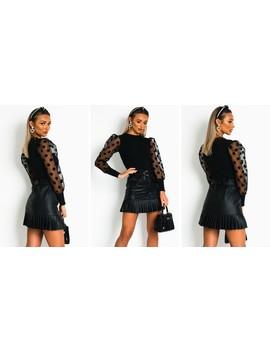 Layla Sheer Sleeve Jumper In Black by Ikrush