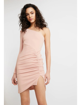 One Shoulder Ruched Mini Dress   Etuikjole by Club L London