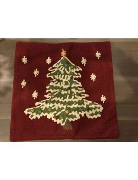 Nwot Pottery Barn Christmas Tree Crewel Embroidered Pillow Cover 18 X 18  Soldout by Pottery Barn
