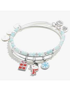 Frosty The Snowman Charm Bangle Set Of 2 Shiny Silver by Alex And Ani