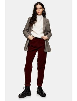 Tall Burgundy Corduroy Mom Jeans by Topshop