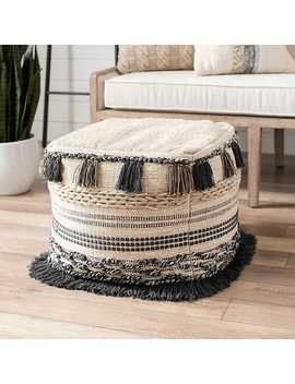New!Tan And Gray Fringe Border Poof by Kirkland's