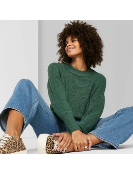 Women's Crewneck Voluminous Sleeve Sweater  Wild Fable™ Green Pine by Wild Fable