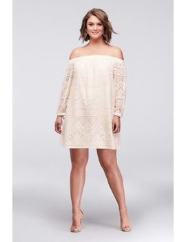 Off The Shoulder Plus Size Lace Mini Dress by Speechless