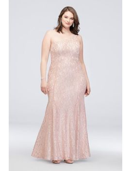 One Shoulder Plus Size Glitter Lace Mermaid Gown by Morgan And Co