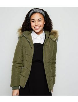 Girls Khaki Faux Fur Trim Fitted Puffer Coat by New Look