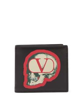 X Undercover Skull Print Leather Bifold Wallet by Valentino
