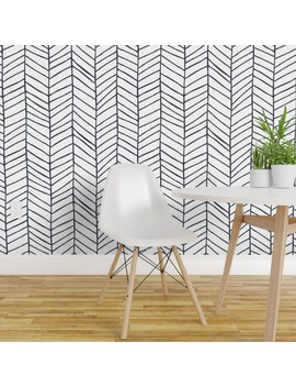 Peel And Stick Removable Wallpaper Herringbone Black And White Modern Chevron by Roostery
