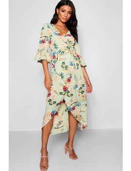 Floral Woven Wrap Maxi Dress by Boohoo