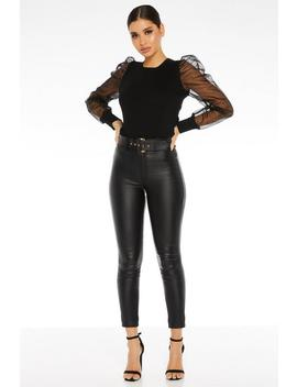 Black Faux Leather Skinny Trousers by Quiz