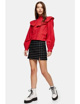 Black Windowpane Check Mini Skirt by Topshop