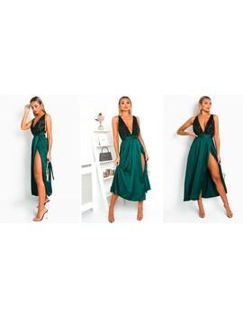 Stephanie Backless Sequin Midi Dress In Dark Green by Ikrush