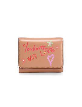 Mini Loubigaga Writing Leather Wallet by Christian Louboutin