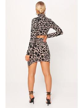 Camel Ribbed Leopard Print Bodycon Mini Skirt by I Saw It First