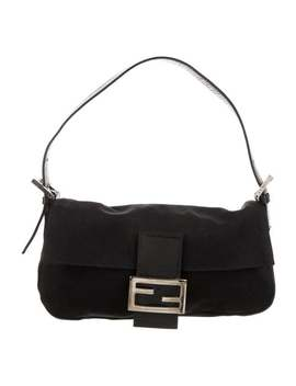 Leather Trimmed Nylon Baguette by Fendi
