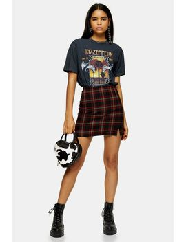 Red Tartan Check Mini Skirt by Topshop