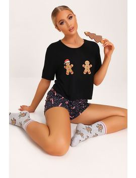 Black Ginger Bread Man Pyjama Set by I Saw It First