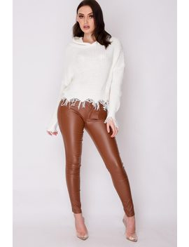 Brown Faux Leather Trousers by Katch Me