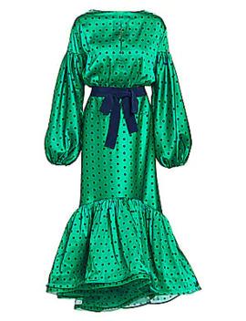 Ethel Polka Dot Puff Sleeve Ruffled Midi Dress by Silvia Tcherassi
