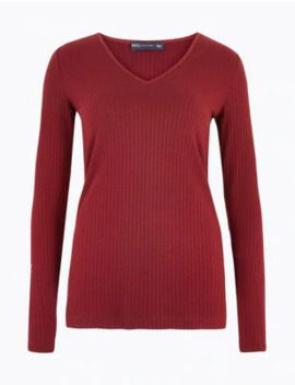 Ribbed V Neck Long Sleeve Fitted Top by Marks & Spencer