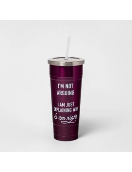 25oz Double Wall Stainless Steel I'm Not Arguing I'm Just Explaining Why I Am Right Tumbler With Straw Magenta   Room Essentials™ by Room Essentials