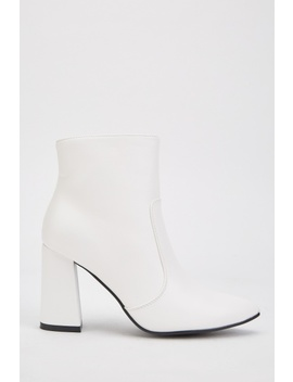 White Block Heel Ankle Boots by Everything5 Pounds