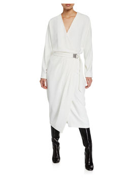 Long Sleeve Dress With Monili D Ring Belt by Brunello Cucinelli