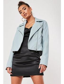 Blue Faux Leather Ultimate Boxy Biker Jacket by Missguided