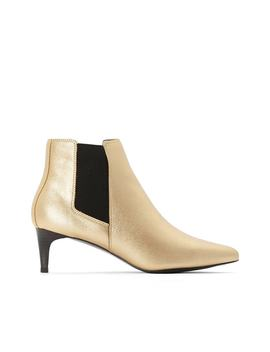 Metallic Ankle Boots With Pointed Toe And Stiletto Heel by La Redoute Collections