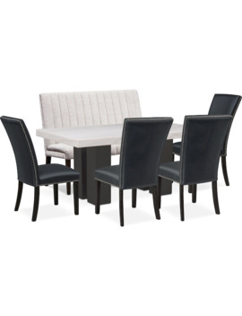 Artemis Marble Dining Table, 4 Upholstered Dining Chairs, And Bench by Value City Furniture