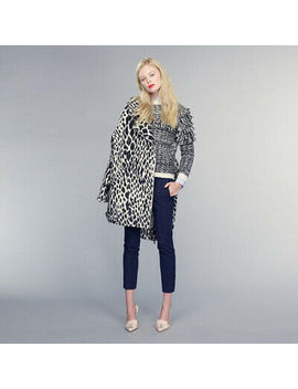 Banana Republic Snow Leopard Wool Coat Xs Black White Cocoon Moto Jacket Nwot by Banana Republic