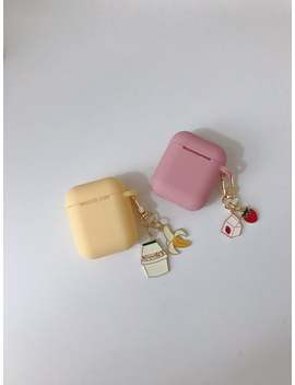 Korea Banana Milk And Strawberry Milk Airpods Case + Keychain Set Best Personalized Cute Kawaii by Etsy
