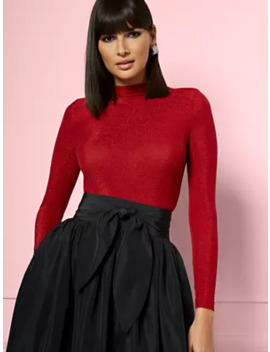 Heidi Mock Neck Bodysuit   Eva Mendes Party Collection by New York & Company