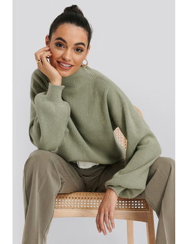 High Neck Big Sleeve Knitted Sweater Vert by Na Kd